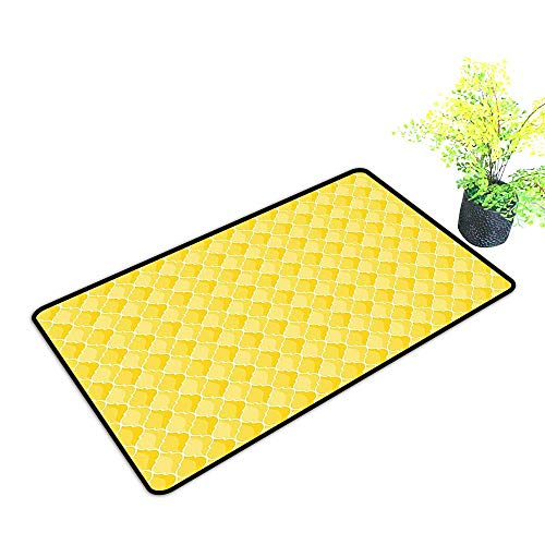 Entrance Door Mat Large Quatrefoil Moroccan Themed Oval Geometric Ombre Pattern Artwork Yellow Merigold and White Dress Up Your Doorway W33 x H21 -
