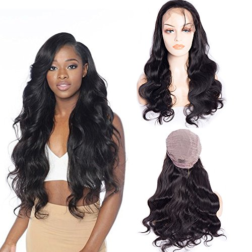 Maxine Body Wave Lace Front Wig 100% Unprocessed Virgin Human hair 180% Density Natural Hairline Brazilian Human Hair Lace Front Wig With Baby Hair for Black Women Natural Color(22inch)