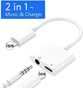 Cdyle Headphone Adapter for iPhone 11 Charging Cable for iPhone 7/7 Plus 8/8 Plus/X/XR/XS Max Audio Jack to 3.5mm Earphone Adaptor Audio + Charge Cable Dongle Extension Cord AUX Female Support All iOS