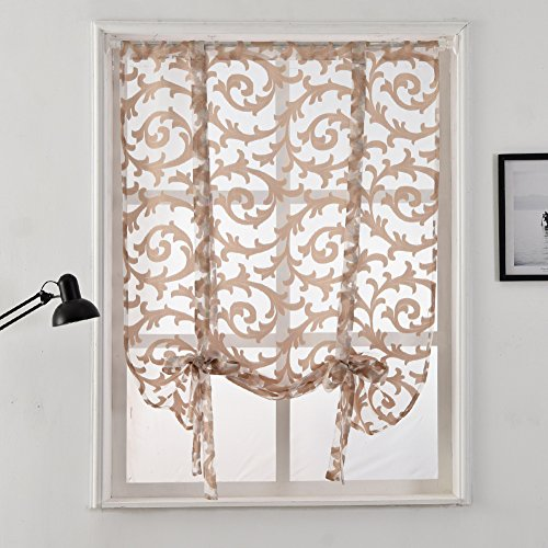 NAPEARL Tie Up Curtain Rod Pocket Short Balloon Organza Jacquard Sheer Valance (55