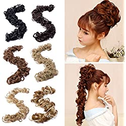 Sexybaby Combs Chignon Messy Curly Hair Bun Extension Clip in Updo Wavy Synthetic Ponytail Flower Hairpiece and Twirl Scrunchie DIY Long Wrap Around Hair Band (New Hair Band-ash Blonde)