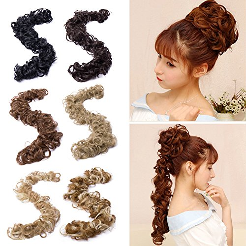 Twirl Scrunchie Messy Hair Bun Maker Long Wrap Around Hair Band DIY Updo Chignon Bendable Ponytails Hair Extensions 32''/80cm Synthetic Curly Wavy Hairpieces Elasticized Spare Hair Scrunchy dark brown -