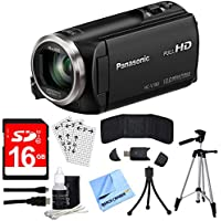 "Panasonic HC-V180K Full HD Camcorder with 50x Stabilized Optical Zoom - Black with Bundle Includes, 16GB High Speed Memory Card, 57"" Full size Tripod & 6' High Speed mini-HDMI to HDMI A/V Cable"
