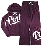 Victoria's Secret PINK Hoodie and Sweat Pants Set Black Orchid X-Small