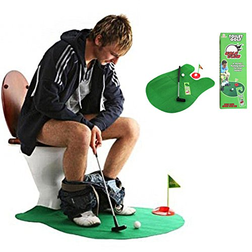 Toilet Golf – Moonmini Potty Putter Set Bathroom Game Mini Golf Set Golf Putting Novelty Set – Play Golf on the Toilet