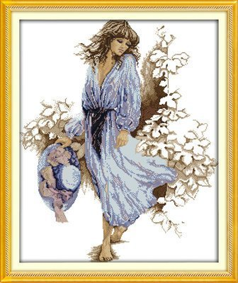 Joy Sunday Cross Stitch kits, The woman in the blue dress,14CT Counted, 52cm×61cm or 20.28