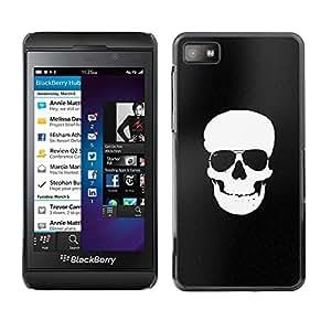 Planetar® ( Black White Skull Minimalist Shades ) Blackberry Z10 Fundas Cover Cubre Hard Case Cover