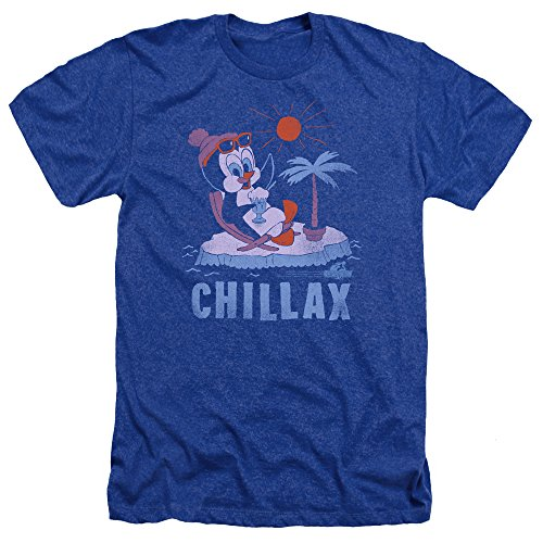 Chilly Willy Penguin Funny Cartoon Character Chillax Adult Heather T-Shirt Tee (Adult Cartoon Characters)