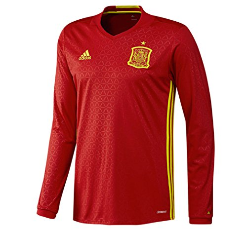 adidas Spain Home Long Sleeve Jersey [Scarlet/Yellow] (Home Long Sleeve Replica Jersey)