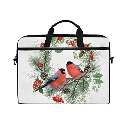 Berries Pinecones Birds Laptop Shoulder Messenger Bag for 15 inch to 15.4 inch MacBook Pro Laptop MacBook Air Notebook Computer Ultraportable Protective Velvet - Inch 15.4 Berry