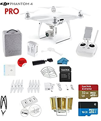 DJI Phantom 4 PRO Quadcopter Drone with 1-inch 20MP 4K Camera KIT + SanDisk 32GB Micro SDXC Cards + Card Reader 3.0 + Snap on Prop Guards by DJI