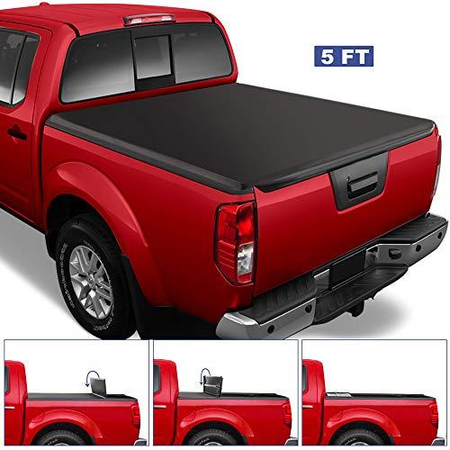 MOSTPLUS Tri Fold Soft Folding Truck Bed Tonneau Cover for 2005-2019 Nissan Frontier Fleetside/2009-2014 Suzuki Equator 5FT (Bed Cover 2018 Nissan Frontier)