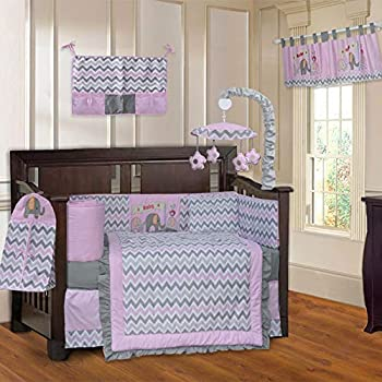 Image of 10 Piece Grey Pink Elephant Chevron Baby Crib Bedding Set with Musical Mobile Zig-Zag Stripes Animal Crib Bedding for Girls Boys Nursery Bed Set Infant Child Blanket Quilt Skirt & More, Soft Cotton Home and Kitchen