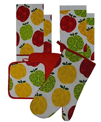 7 Pieces 100% Cotton Kitchen Linen Set. (Oven Mitt, Kitchen Towels, Dish Cloths and Pot Holders) (Fancy Apples)