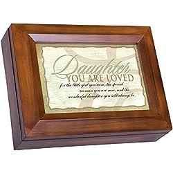 Wonderful Daughter Dark Wood Finish Jewelry Music Box - Plays Tune You Are My Sunshine