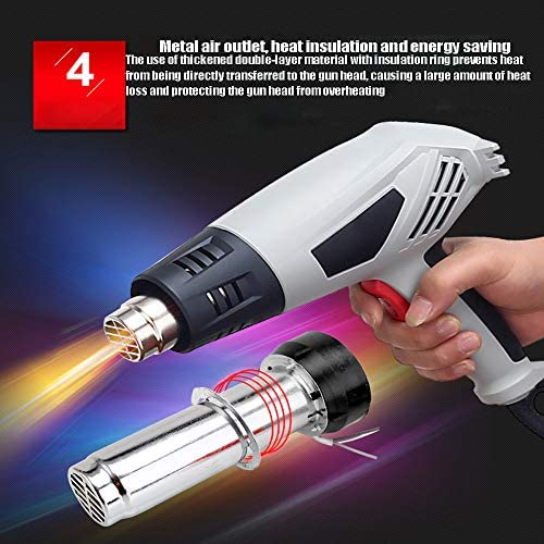 ASWT-Heat Gun, 2000W Hot Air Gun Kit (350°-550°) Air Flow 300-500L/Min, Shrink Wrapping Is Suitable for Shrink Wrapping, Remove Old Paint, Car Film, Defrost Water Pipe