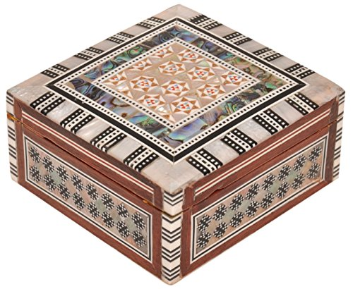 Jewelry Box Mother of Pearl - Egyptian Decorative Mosaic Jewelry Trinket Box - Convenient Inlaid Box for Jewelry and Other Small Items – Ideal Trinket Box for Gifting a Loved One – CraftsOfEgypt