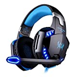VersionTech G2000 Stereo Gaming Headset for PS4 Xbox One Bass Over-Ear Headphones with Mic, LED Light, Noise Isolation Features for Laptop Mac Nintendo Switch Games Smartphones, Blue