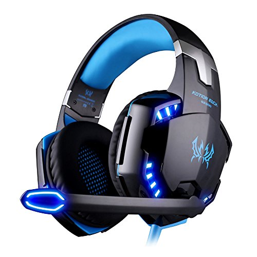VersionTech G2000 Stereo Gaming Headset for PS4 Xbox One Bass Over-Ear  Headphones with Mic, LED Light, Noise Isolation Features for Laptop Mac