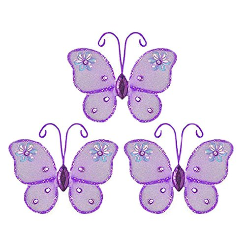 (The Butterfly Grove Adelaide Butterfly Decoration 3D Hanging Mesh Nylon Decor, Purple Wisteria, Mini, 3