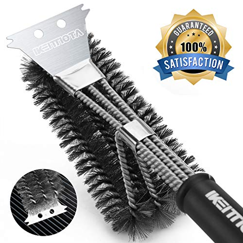 IKEITTIOTA 18 Grill Brush & BBQ Cleaning Scraper - 100% Safe & Rust Resistant Stainless Steel Grill Cleaner, 3 in 1 Wire Bristles Durable Handle, Best BBQ Accessories Dad as Gift