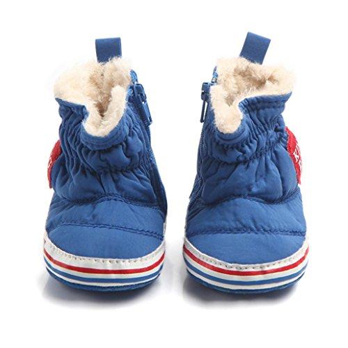 Baby Wanderschuhe,Chshe Prewalker Säugling Süß Obere Baumwolle Sohle Gummi Sneaker Anti-Rutsch Weich Winter Warm Kind Schuhe Trainer Blau