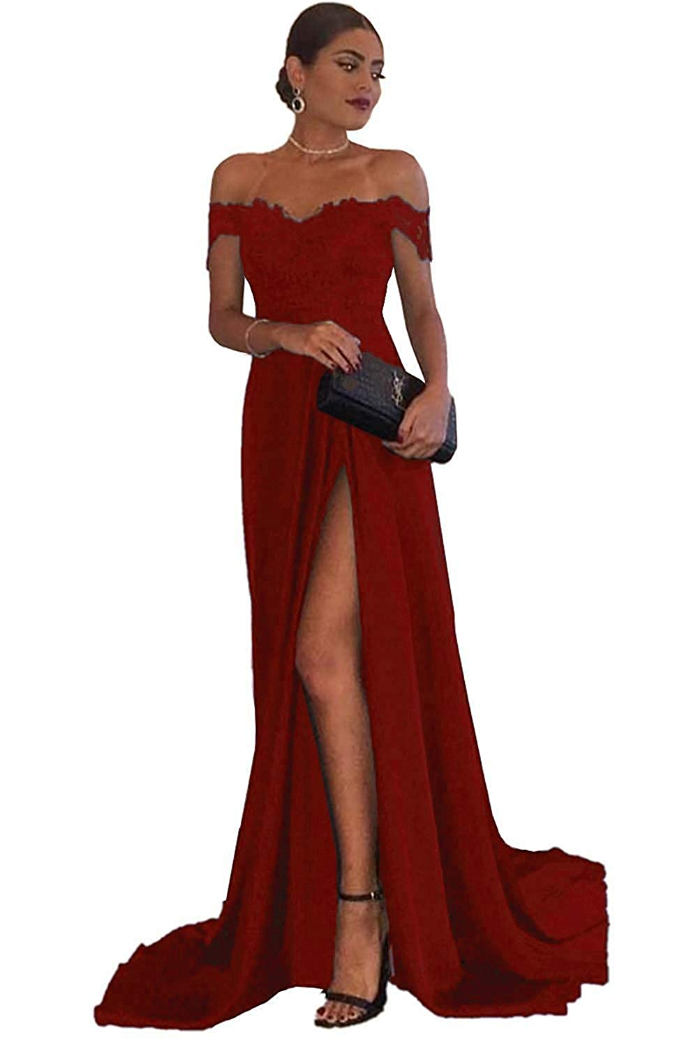 Red Dressytailor Aline Off The Shoulder Sweetheart Applique Satin Long Prom Evening Dress with Slit