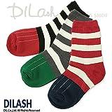 (ディラッシュ) DILASHクルーソックス(ボーダー柄)/秋 M(16~18cm) ブラック