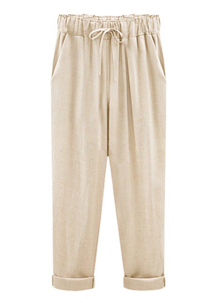 Smibra Womens Casual Pants Elastic Drawstring High Waist Linen Solid Pencil Trousers