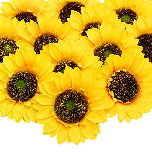 Sunflower Cake Decorations (Artificial Sunflower Heads, 12 Pcs Silk Faux Sunflowers Yellow Gerber Daisies for DIY Wedding Fall Autumn Party Cupcake Hair Clip Wreath Topper Decoration, 5.9