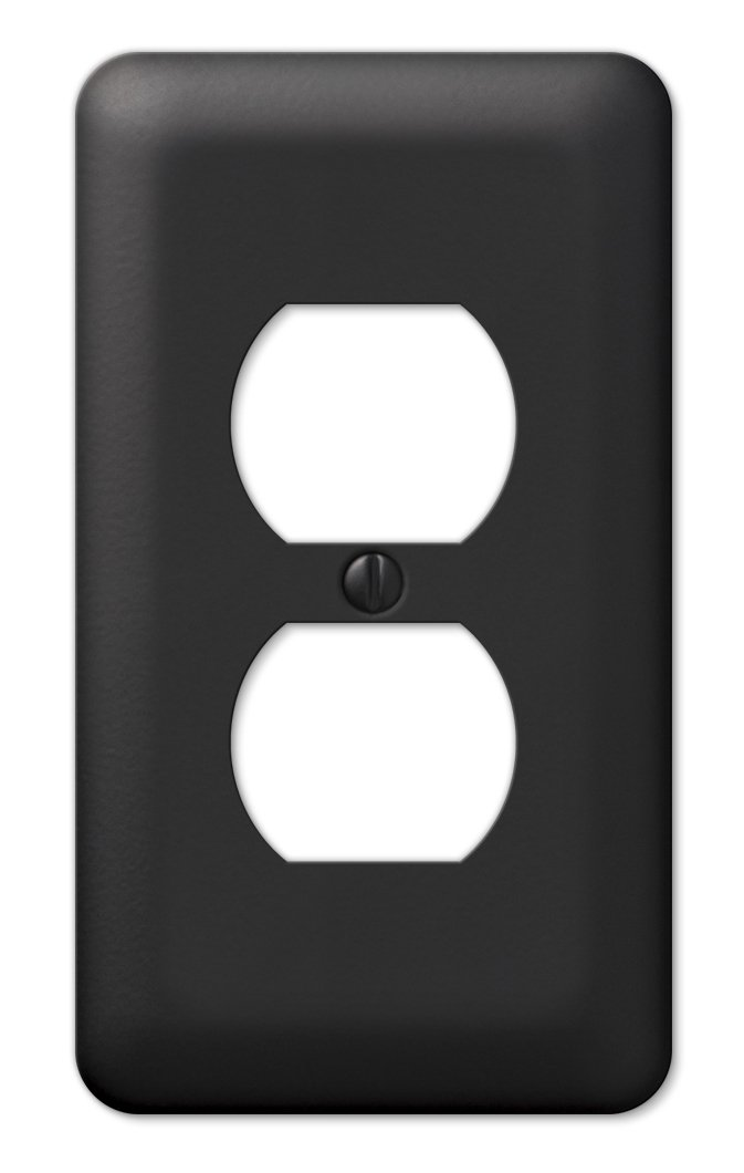 Amerelle 935DBK Colours Steel Wallplate with 1 Duplex Outlet, Black