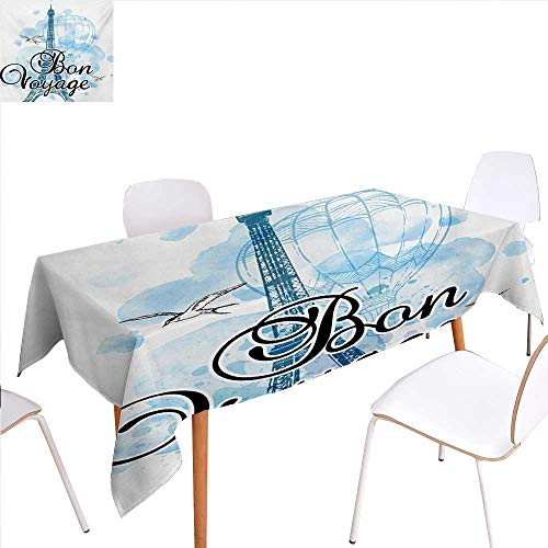 familytaste Going Away Party Dinner Picnic Table ClothEiffel Tower Air Balloon Watercolor Bon Voyage Bird Journey Waterproof Table Cover for Kitchen 54