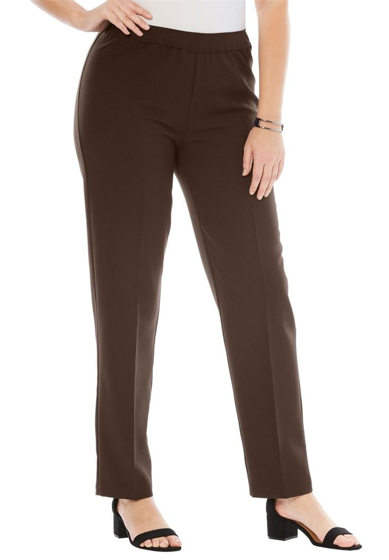 Roamans Women's Plus Size Petite Bend Over Classic Pant