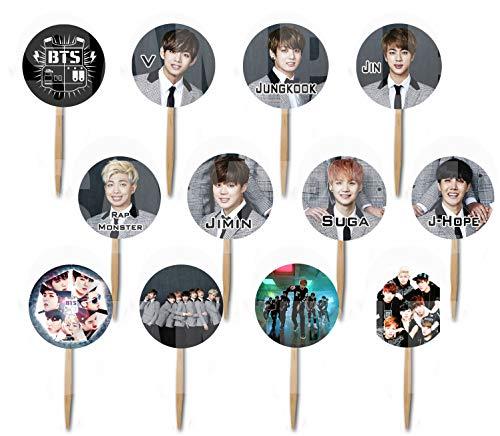 K pop Boy Band Assorted Images Cupcake Picks Cake Toppers (12 pcs) South Korean Boy Band Jin Suga J-Hope RM Jimin V Jungkook