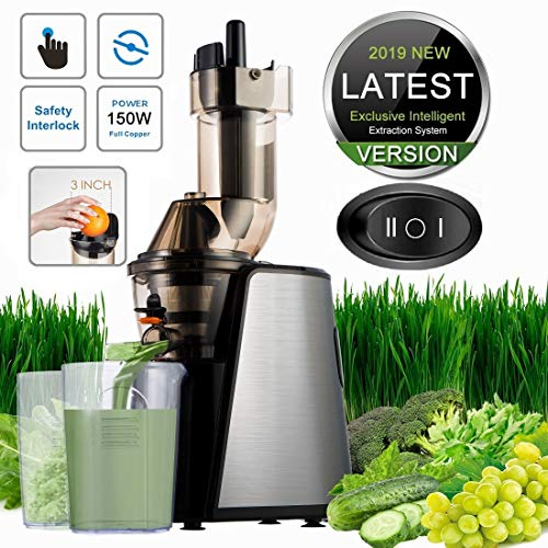 Slow Masticating Juicer, Cold Press Juicer Machine, Higher Juicer Yield and Drier Pulp, Juice Extractor with Quiet Motor for High Nutrient Fruit & Vegetable Juice, Easy to Clean (Best Slow Press Juicer 2019)