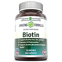Amazing Nutrition Biotin 10,000 mcg Supplement - Best Vitamin to Support Healthy Hair, Skin, Nails, Digestive Healthy and Healthy Ageing - 200 Capsules in each Bottle
