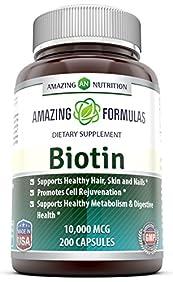 Amazing Nutrition Biotin 10,000 Mcg Dietary Supplement, 200 Capsules