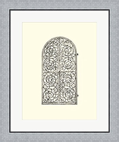 B&w Wrought Iron Gate (B&W Wrought Iron Gate VI Framed Art Print Wall Picture, Flat Silver Frame, 23 x 27 inches)