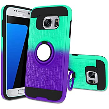 Atump Galaxy S7 Case, S7 Phone Case with HD Screen Protector, 360 Degree Rotating Ring Holder Kickstand Bracket Cover Phone Case for Samsung Galaxy S7 Mint/Purple