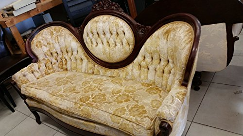 Antique French Provincial Victorian Walnut Cameo Back Settee