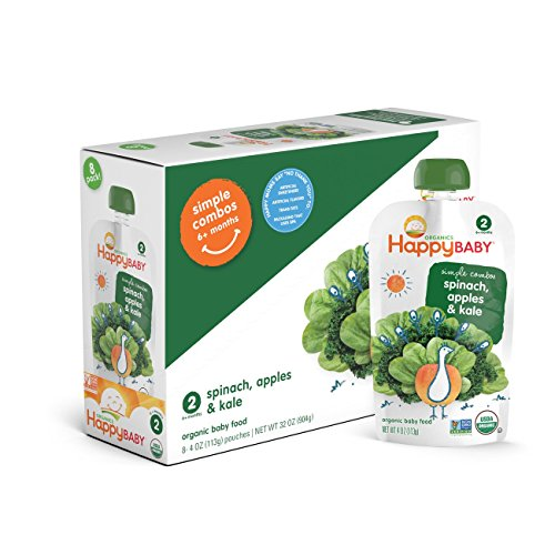Price comparison product image Happy Baby Organic Stage 2 Baby Food, Simple Combos, Spinach, Apples & Kale, 4 Ounce, 8 count (Pack of 2)