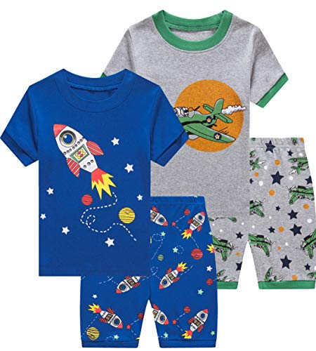 Pajamas for Boys Baby Rocket Clothes Summer Kids Airplane Short PJs 4 Pieces Set 8t]()