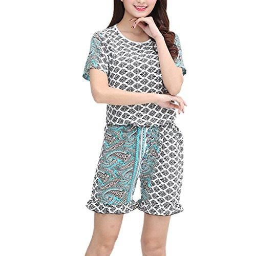 Verano Señoras El Código Gran Flojo Casual Conjunto De Pijama Desgaste Del Salón 08