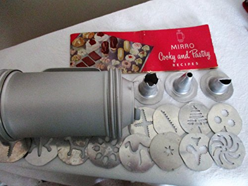 VINTAGE Mirro Cookie Cooky Press w/ Reprint  inchMirro Fancy Cookies, Appetizers, and Pastries inch [complete with 3 tips, 12 designs] as shown