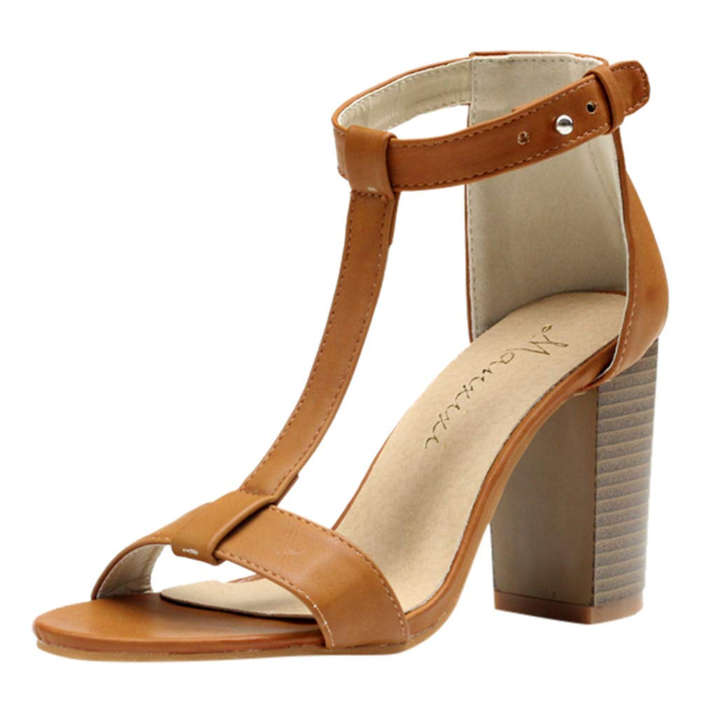Women Summer Sandals, LIM&Shop Casual Flats Wedges Shoes Ankle Strap High Heels Comfort Walking Platform Block Heels Brown