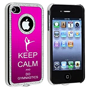 Apple iPhone 4 4S 4G Hot Pink S1631 Rhinestone Crystal Bling Aluminum Plated Hard Case Cover Keep Calm and Do Gymnastics