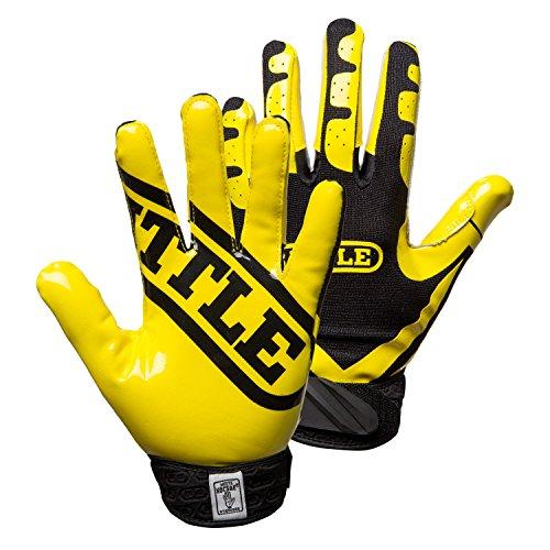 - Battle Football Glove, Neon Yellow/Black, Adult Small
