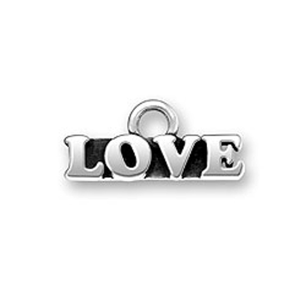 Sterling Silver Girls .8mm Box Chain Small Word LOVE Pendant Necklace