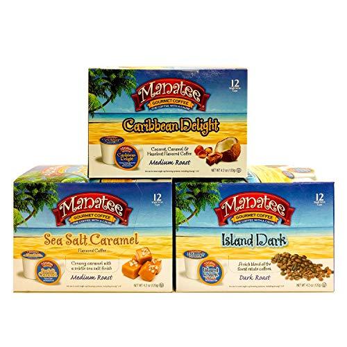 Manatee Gourmet Coffee Single Serve Pods for Keurig 2.0 K-Cup Brewers, Variety Pack (12 Caribbean Delight, 12 Sea Salt Caramel, 12 Island Dark) 36 Count