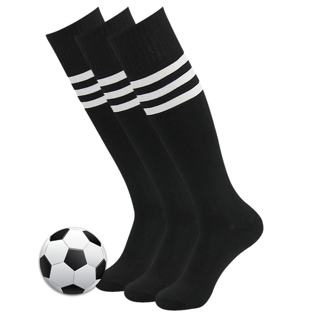 3street Soccer Socks, Unisex Mens Arch Compression Support Athletic Football Team Socks Over Calf Volleyball Long Tube Socks Knee-High Compression Socks for School Group Black 3 Pair by Three street